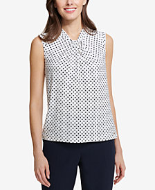 Tommy Hilfiger Dot-Print Twist-Neck Shell