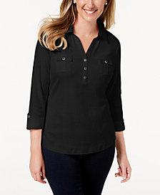 Karen Scott Petite 3/4-Sleeve Cotton Polo, Created for Macy's