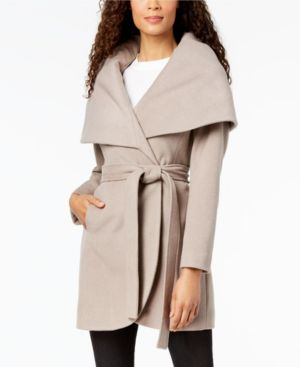 T TAHARI Marla Oversized Shawl Collar Coat in Brown Sugar