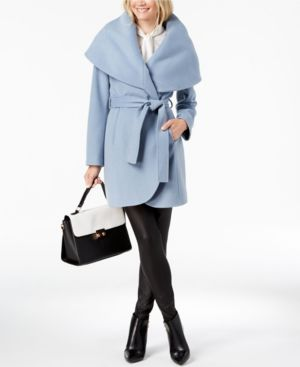 T TAHARI Marla Oversized Shawl Collar Coat in Pale Blue