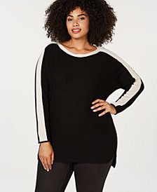 Charter Club Plus Size Cashmere Contrast-Stripe Sweater, Created for Macy's