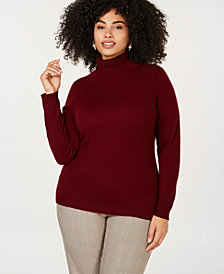 Charter Club Plus Size Pure Cashmere Turtleneck Sweater, Created for Macy's