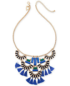 "Thalia Sodi Gold-Tone Crystal, Stone & Tassel Statement Necklace, 18"" + 3"" extender, Created for Macy's"