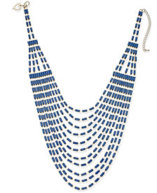 "Thalia Sodi Gold-Tone & Stone Multi-Row Statement Necklace, 16"" + 3"" extender, Created for Macy's"