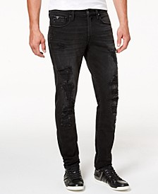 Men's Distressed Slim-Fit Tapered Jeans