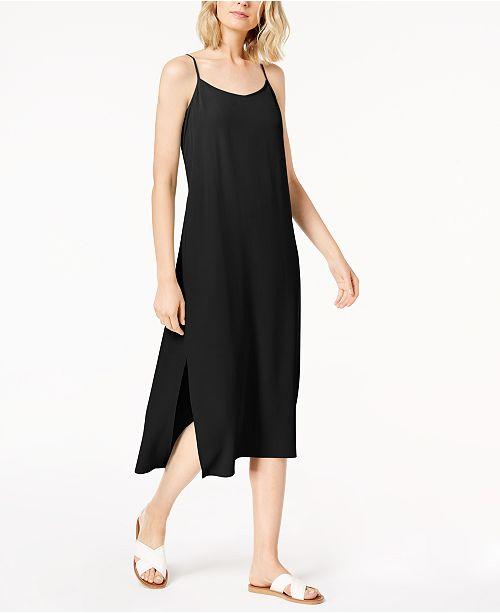 0a86f1925653 Eileen Fisher Tencel® Crepe Side-Slit Slip Dress, Regular & Petite ...