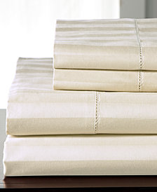 Andiamo Stripe Cotton 500 Thread Count 4-Pc. White Queen Sheet Set