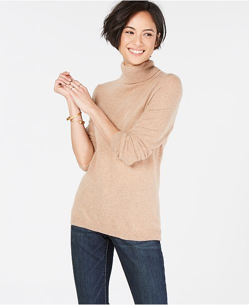 Cashmere Charter amp; Heather Sweater Turtleneck Regular Pure in Club Macy's Created Petite Sizes Camel for OrxSrE