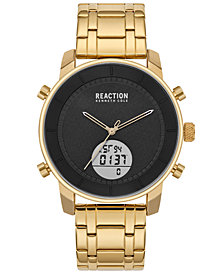 Kenneth Cole Reaction Men's Analog-Digital Gold-Tone Stainless Steel Bracelet Watch 44mm