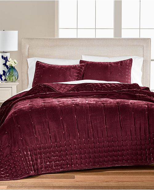 Martha Stewart Collection CLOSEOUT! Tufted Velvet Twin Quilt, Created for Macy's