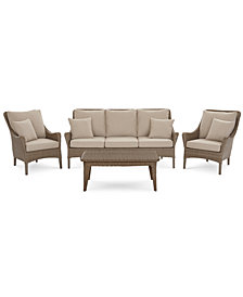 Silver Lake Indoor/Outdoor Flat Rattan 4-Pc. Seating Set (1 Sofa, 2 Club Chairs and 1 Coffee Table) with Sunbrella® Cushions, Created for Macy's