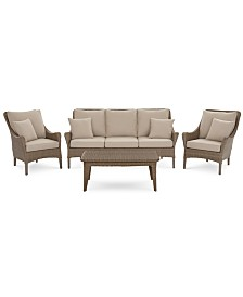 CLOSEOUT! Silver Lake Indoor/Outdoor Flat Rattan 4-Pc. Seating Set (1 Sofa, 2 Club Chairs and 1 Coffee Table) with Sunbrella® Cushions, Created for Macy's