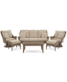 Silver Lake Indoor/Outdoor Flat Rattan 6-Pc. Seating Set (1 Sofa, 2 Swivel Club Chairs, 1 Coffee Table and 2 Ottomans) with Sunbrella® Cushions, Created for Macy's