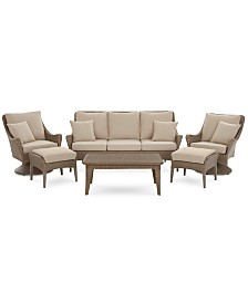 CLOSEOUT! Silver Lake Indoor/Outdoor Flat Rattan 6-Pc. Seating Set (1 Sofa, 2 Swivel Club Chairs, 1 Coffee Table and 2 Ottomans) with Sunbrella® Cushions, Created for Macy's