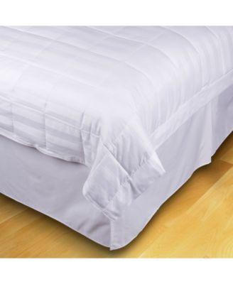 Quilted Stripe Jacquard King Down-Alternative Blanket