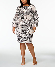 Calvin Klein Plus Size Tiered-Sleeve Shift Dress