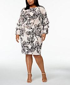 Calvin Klein Plus Size Tiered-Sleeve Shi