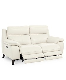 "Milany 65"" Leather Power Reclining Loveseat with Power Headrest and USB Power Outlet, Created for Macy's"