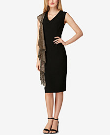 Tahari ASL Metallic-Ruffle Sheath Dress