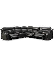 Winterton 7-Pc. Leather Sectional Sofa With 3 Power Recliners, Power Headrests, Lumbar, 2 Consoles & USB Power Outlet
