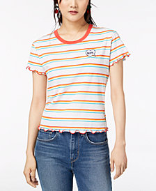 Hybrid Juniors' Nope Striped T-Shirt