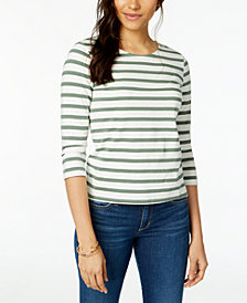 Maison Jules Cotton Striped Bow-Embellished Top, Created for Macy's
