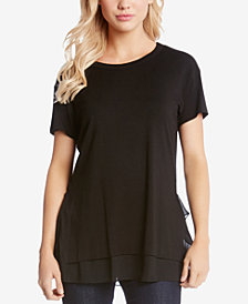 Kane Kane Ruffled Sheer-Hem Top