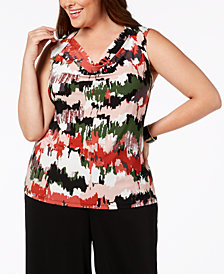 Nine West Plus Size Printed Cowl-Neck Shell