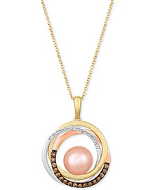 "Cultured Freshwater Pink Pearl (9mm) & Diamond (1/3 ct. t.w.) 20"" Pendant Necklace in 14k Gold, White Gold & Rose Gold"
