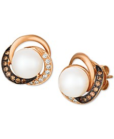 Le Vian® Cultured Freshwater Pearl (7-1/2mm) & Diamond (1/4 ct. t.w.) Stud Earrings in 14k Rose Gold