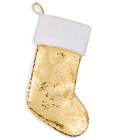 Holiday Lane Gold Sequin Stocking, Created for Macy's