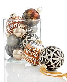 Holiday Lane Glass Copper/Silver/Cream Ball Ornaments, Set of 10, Created for Macy's