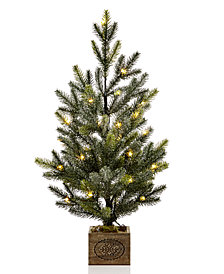 martha stewart collection small led snowy pine tree with merry christmas wood - Martha Stewart Christmas Tree Decorations
