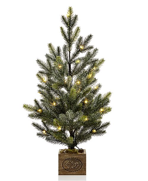 Martha Stewart Collection Small LED Snowy Pine Tree with ''Merry Christmas'' Wood Pot, Created for Macy's