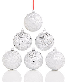 Holiday Lane 6-Pc. White & Silver Pine Cone Ball Ornament Set, Created for Macy's