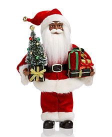 Holiday Lane African-American Santa with Tree & Packages, Created for Macy's