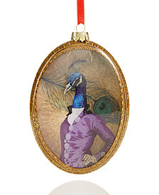 Holiday Lane Peacock Pattern Disk Ornament, Created for Macy's