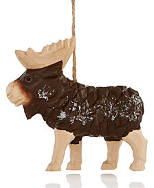 Holiday Lane Brown Hand Carved Moose Wood Hanging Ornament, Created for Macy's
