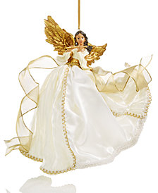Holiday Lane Ivory/Gold Flying Angel Hanging Ornament, Created for Macy's
