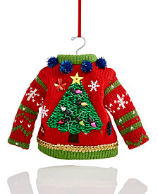 Holiday Lane Knit Sweater with Tree Ornament, Created for Macy's
