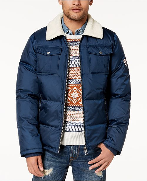 0ac7bcbad GUESS Men s Quilted Jacket with Fleece Collar   Reviews - Coats ...