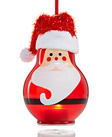 Holiday Lane Glass Painted Santa with Fabric Hat Ornament, Created for Macy's