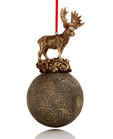 Holiday Lane Glass Ball with Moose On Top Christmas Ornament, Created for Macy's