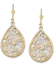 Mother-of-Pearl Teardrop Filigree Drop Earrings in 14k Gold