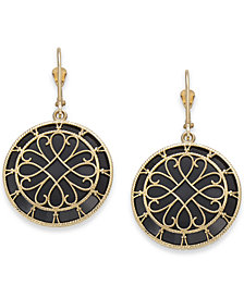Onyx Filigree Medallion Drop Earrings in 14k Gold