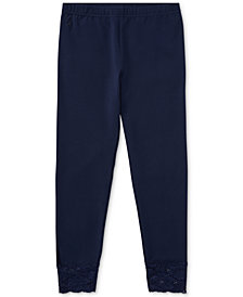 Polo Ralph Lauren Big Girls Lace-Cuff Jersey Leggings