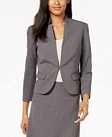 Nine West Inverted-Collar Kiss-Front Jacket