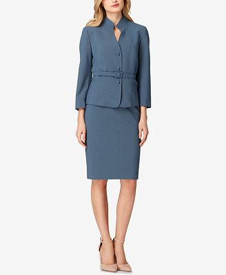 Tahari Asl Stand Collar Skirt Suit Wear To Work Women Macy S