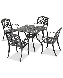 Shea Outdoor 5-Pc. Dining Set (1 Table & 4 Chairs), Quick Ship
