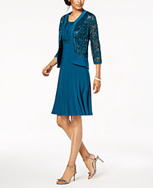 R & M Richards Dress & Sequined Lace Jacket